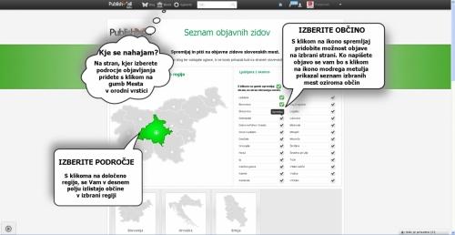 Kliknite na regijo in nato označite spletni zid mestne strani, ki jo želite spremljati in/ali objavljati.