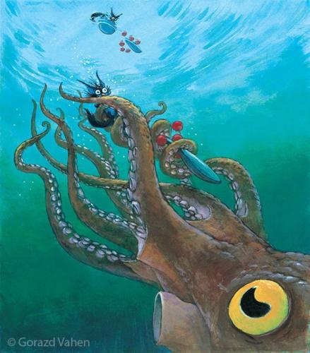 Srečanje med hobotnico in Kosovirjema<br> Ilustriral: Gorazd Vahen<br> (Pisateljica: Svetlana Makarovič)