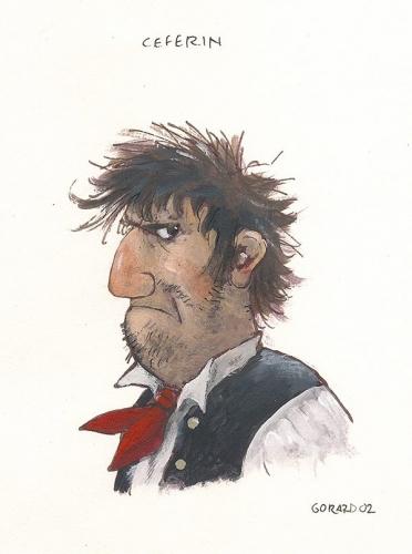 Karakterna študija Ceferina,<br> knjižnega lika mojstra Franeta Milčinskega - Ježka.<br> Ilustriral: Gorazd Vahen