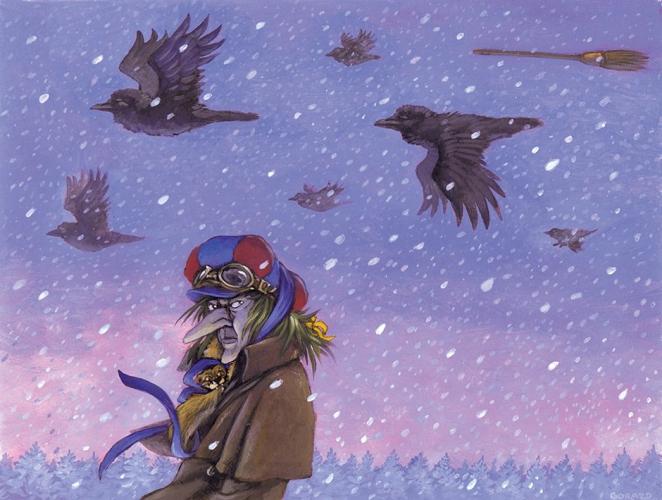 Zofka in metla<br> zasebna zbirka<br> <br> Sophie the Witch<br> private collection<br> Ilustriral: Gorazd Vahen<br> Opis ilustracije: Gorazd Vahen