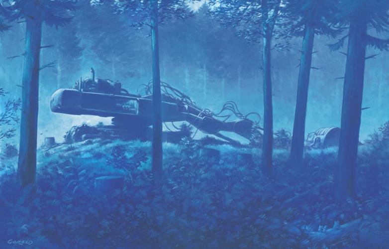 Bager je prišel, da bi požrl gozd. Pa je gozd požrl njega.<br> Za miši je to zdaj svet kraj.<br> <br> The digger came to devour the forest, but it was the forest that devoured the digger.<br> The mice hold this place sacred now.<br> Ilustriral: Gorazd Vahen<br> Opis ilustracije: Gorazd Vahen