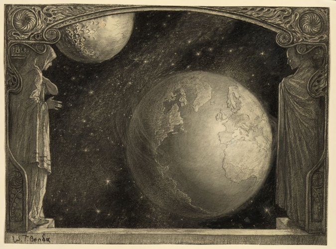 Rezultat iskanja slik za the earth with milky way and moon Władysław T. Benda