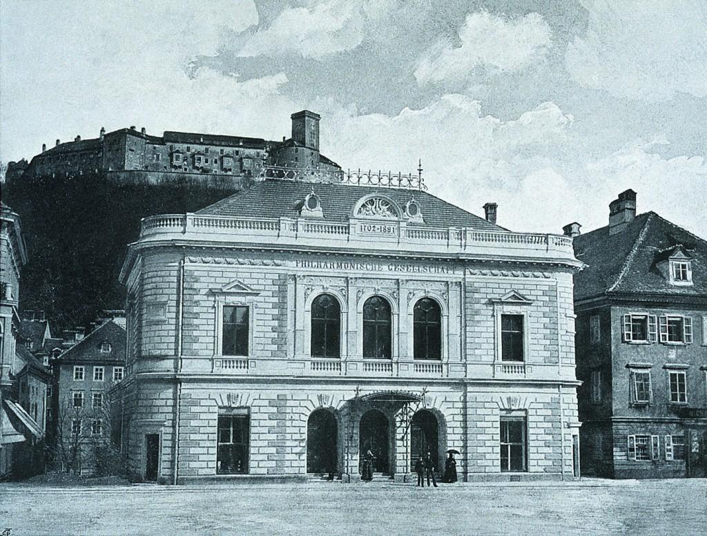 Stavba Slovenske filharmonije (takrat Tonhalle)