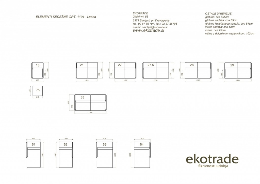 Možni elementi za sestav sedežne garniture LEONA - novo (FOTELJ, TABURE, samostojni 3-SED ali 2,5 SED, ...)