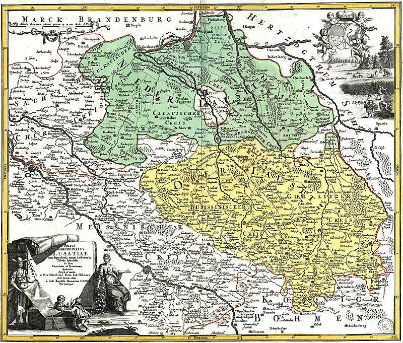 Zgodovinski zemljevid gornjih in dolnjih Lužic