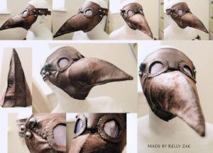 Pustna pustna maska v obliki ptičje glave