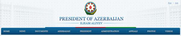 ... gre pa za objavo na uradni spletni strani predsednika Azerbajdžana Ilhama Aliyeva.