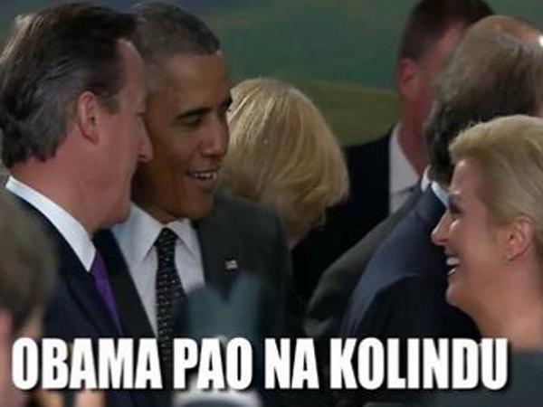 Ko je ameriški predsednik Barack Obama pokazal navdušenje nad Kolindo Grabar Kitarović, so hrvaški mediji zapisali, da je Obama padel (pao) na Kolindo ...