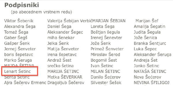 Faksimile. Tako je Lenart Šetinc sprva podpisal peticijo za privatizacijo, potem pa si je premislil in zahteval, naj njegov podpis organizatorji peticije umaknejo ...
