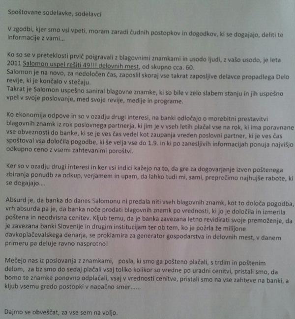 Faksimile pisma Gregorja Repiča zaposlenim v Krater Media, poslanega med razpisom za nakup edicij Dela revij. Kjer se tudi vidi, kako Repič in Odlazek lažeta zaposlenim (za povečavo kliknite na sliko).