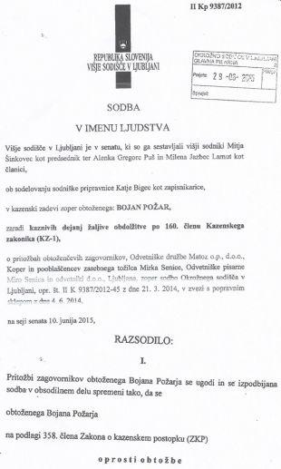 Faksimile prve strani sodbe višjega sodišča v Ljubljani, ki je avtorja teh vrstic pravnomočno oprostilo v štirih kazenskih tožbah razvpitega odvetnika Mira Senice (za povečavo kliknite na sliko).