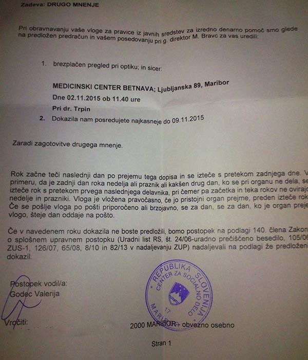 Uradni dokument Centra za socialno delo Maribor, kjer Mariborčanko A.M. napotujejo po drugi mnenje k istemu zdravniku. Tokrat na zasebno prakso Simona Trpina.