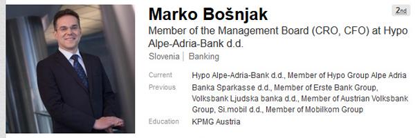 Marko Bošnjak se na svojem osebnem profilu na poslovnem omrežju LikendIn še vedno reklamira kot član uprave Hypo banke, čeprav to že dolgo ni več. Nič pa o tem, da bi bil svetovalec ...