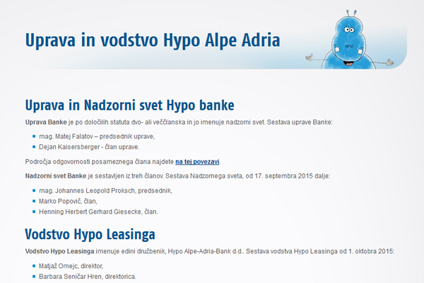 .... medtem ko je na uradni spletni strani Hypo banke takoj razvidno, da Marka Bošnjaka pri njih ni nikjer več (za povečavo kliknite na sliko).