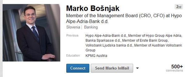Marko Bošnjak, kandidat predsednika države za viceguvernerja Banke Slovenije, je šele po današnjem članku ustrezno popravil svoj profil na poslovnem omrežju LinkedIn. Zdaj tudi na LinkedInu ni več član uprave Hypo banke (za povečavo kliknite na sliko).