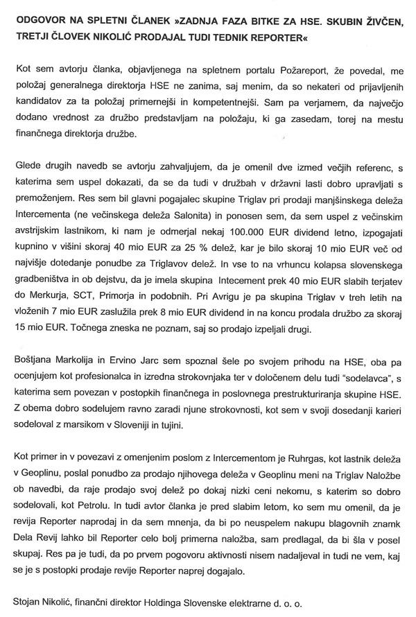 Pismo Stojana Nkoliča, člana uprave HSE, kot odgovor na članek z naslovom Zadnja faza bitke za HSE. Skubin živčen, tretji človek Nikolič prodajal tudi tednik Reporter (za povečavo kliknite na sliko).