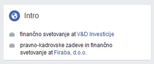 To so poslovne reference Jožeta Artnaka na Facebooku: finančno svetovanje za V&D Investicije in Firaba d.o.o.. Na uradni spletni strani SMC, zanimivo, teh referenc ne omenjajo ...