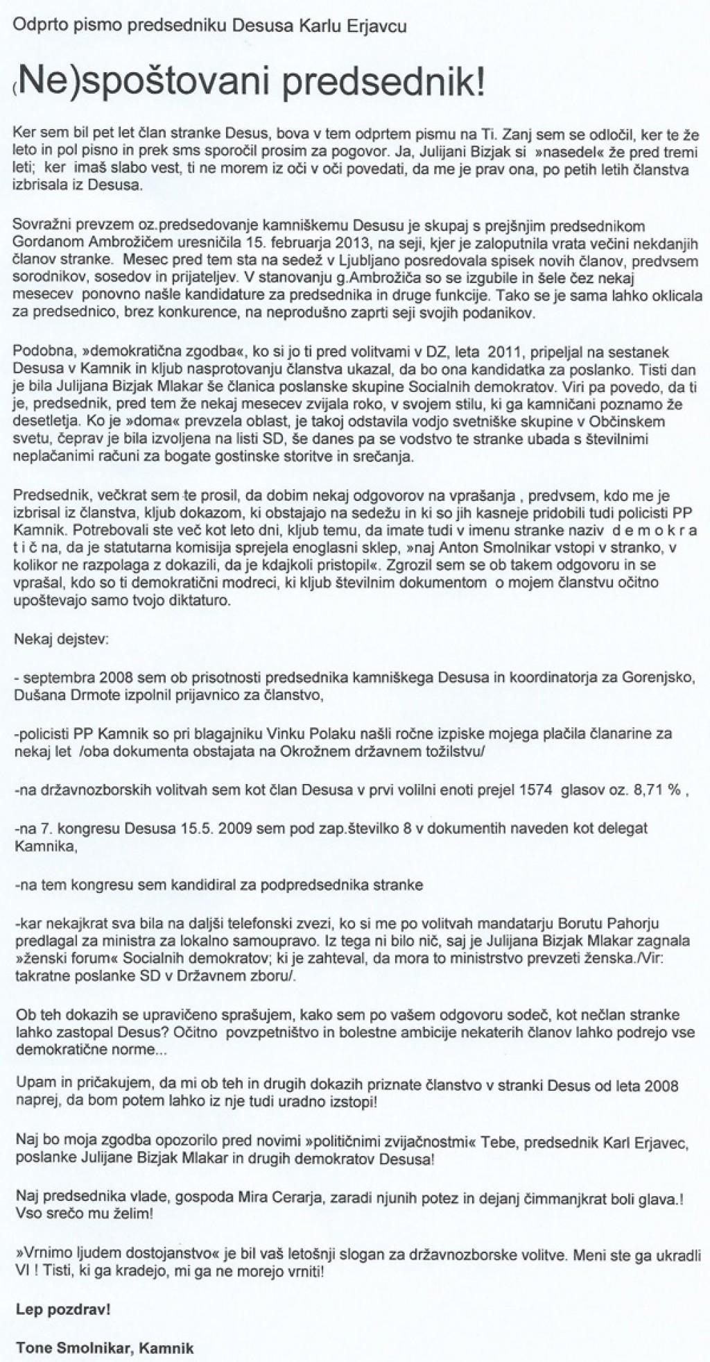 Faksimile odprtega pisma, ki ga je nekdanji župan Kamnika in bivši televizijec Tone Smolnikar naslovil na nespoštovanega predsednika Desusa Karla Erjavca (za povečavo klik na sliko).