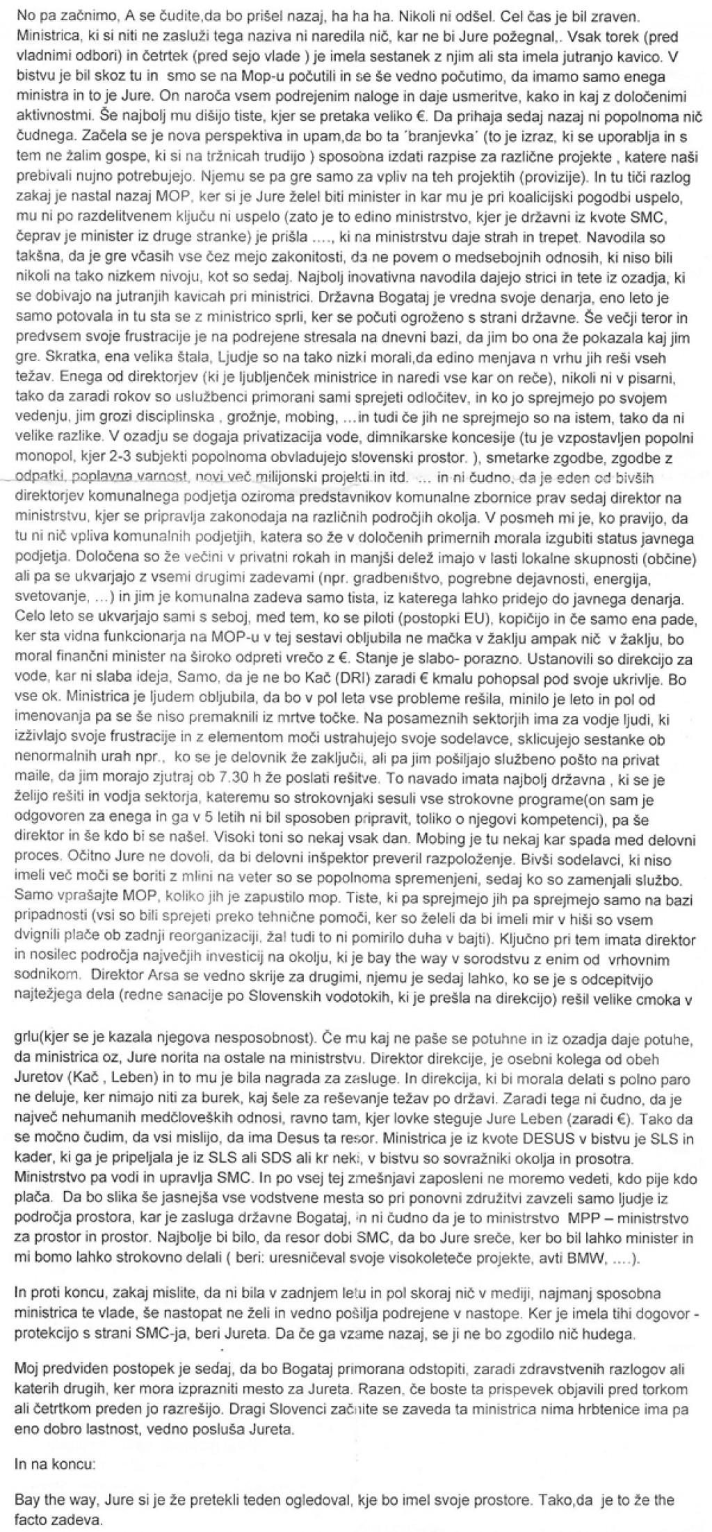 Pismo uradnice ministrstva za okolje in prostor (za povečavo kliknite na sliko).