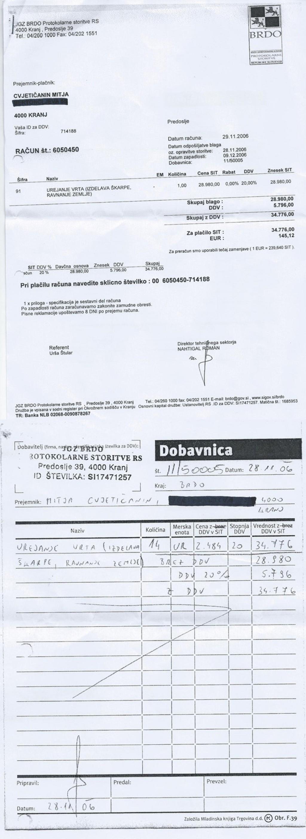 Račun številka 6050450 za urejanje vrta, s priloženo dobavnico, ki ga je JGZ Brdo Mitji Cvjetičaninu, partnerju Alenke Bratušek, izdalo novembra 2006.