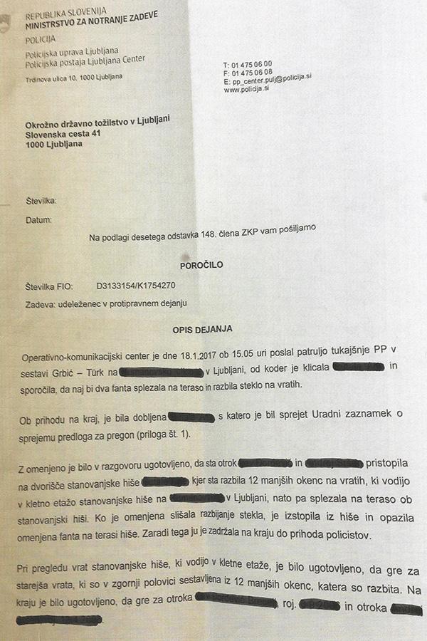 Faksimile policijskega zapisnika, januar 2017.
