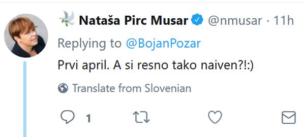 Tvit Nataše Pirc Musar.