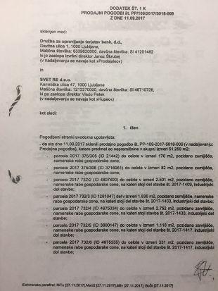 To je famozni aneks k pogodbi med DUTB in nepremičninsko agencijo SVET RE, ki sta jo podpisala Janez Škrubej in Vlado Petek ...