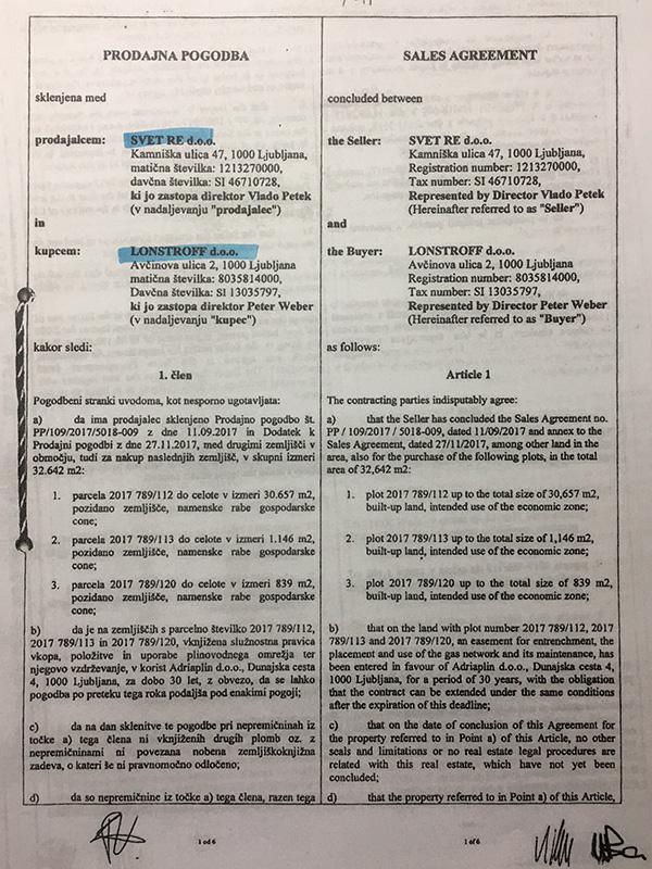... tukaj pa pogodba med agencijo SVET RE in švicarsko družbo Lonstroff, d. o. o.