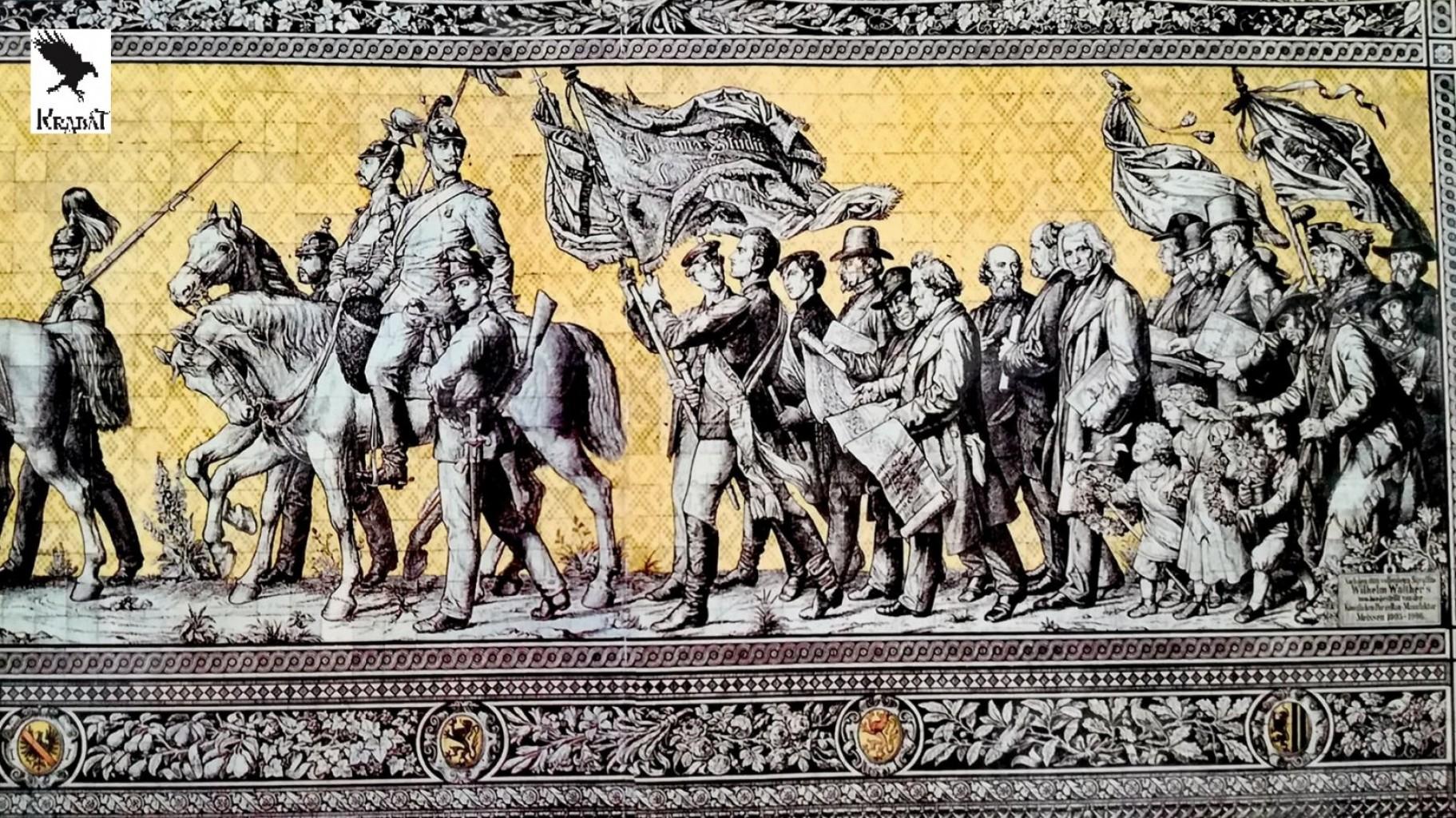 Konec povorke z vojaki, ljudmi različnih strok ter avtorjem na koncu (Zid saških vojvod Dresden)
