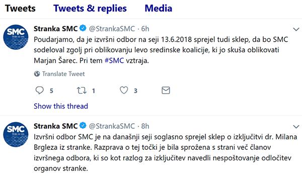 ... tukaj so pa uradni odzivi vodstva SMC ob Brglezovi izkjučitvi, na twitterju.