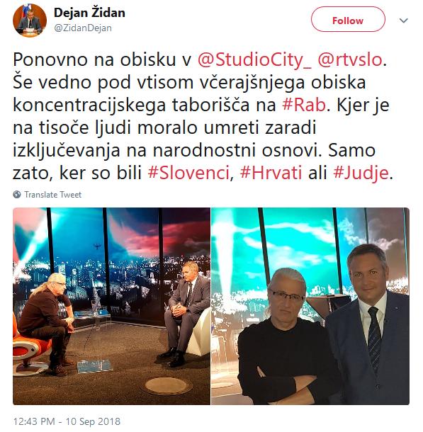 Dejan Židan (levo Marcel Štefančič jr.) na obisku v Studiu City.