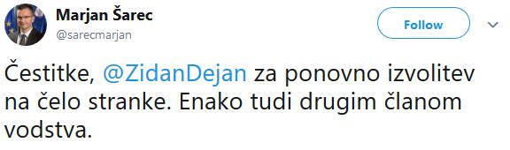 Marjan Šarec kao čestita Židanu & kompaniji. (vir: Twitter)