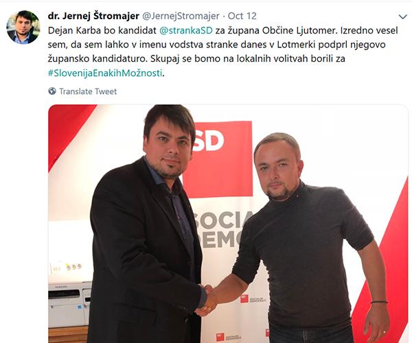 Jernej Štromajer in Dejan Karba, Ljutomer, minuli petek dopoldne. (Vir: Twitter)