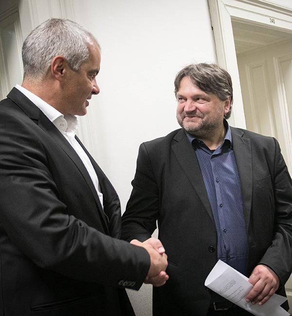 Sašo Arsenovič in Damir Orehovec - ob vložitvi Arsenovičeve kandidature za mariborskega župana na listi SMC, prejšnji četrtek, 18. oktobra.