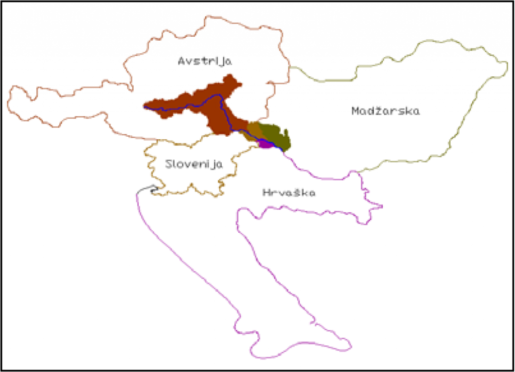 Slika 1 : Mura v prostoru štirih držav