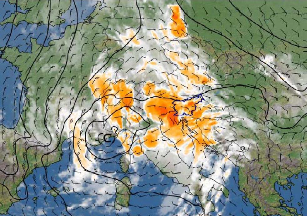 Slika 2. Genovski ciklon, satelitska slika v infrardečem delu spektra. Sobota, 20. avgust 2005, ob 23h po lokalnem času.