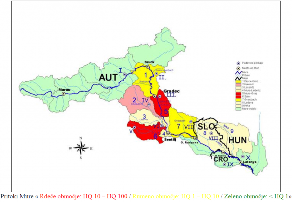 Slika 4. Zemljevid prispevnega območja Mure (žarišča poplave avgusta 2005)