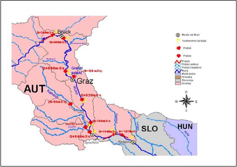 Slika 6: Gibanje pretočnih količin na vodomernih postajah na prispevnem območju Mure (srednji del).