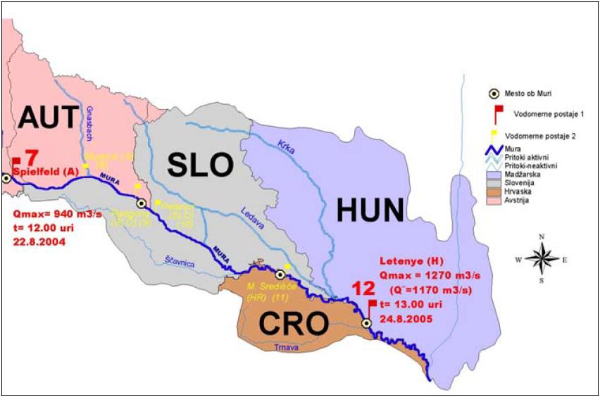 Priloga 2: Gibanje poplavnega vala v avgustu 2005, med vodomernima postajama v Šentilju (Spielfeld) in Letenyu