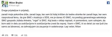To je zapis MIlana Brgleza, ki ga je - sinoči - po izključitvi iz SMC, objavil na svojem facebook profilu ...