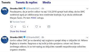... tukaj pa sta uradna odziva vodstva SMC ob Brglezovi izkjučitvi, na twitterju.