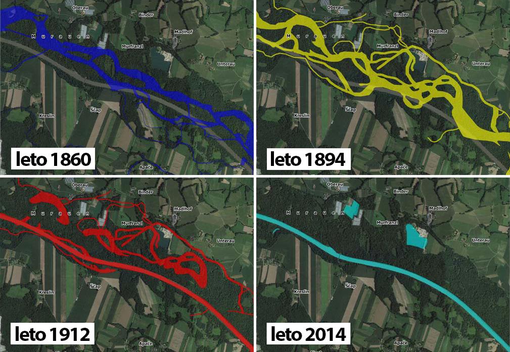 Slika 6: Prikaz sprememb struge v različnih časovnih obdobjih - okolica Apač