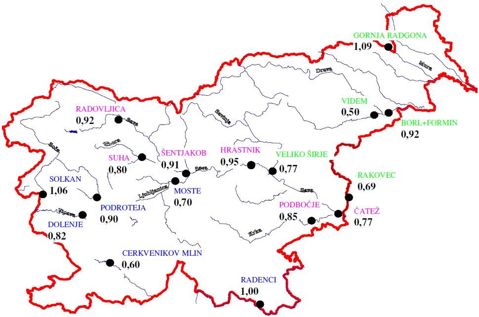 Slika 1. Razmerja med srednjimi pretoki rek leta 2012 in povprecnimi srednjimi pretoki v dolgoletnem primerjalnem obdobju