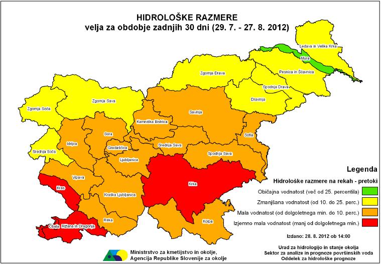 Slika 6. Agencija RS za okolje je vse od zacetka leta javnost redno tedensko obvešcala o sušnih razmerah