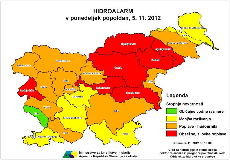 Slika 7. Avgusta je Agencija za okolje redno tedensko obveščala javnost o hidroloških sušnih razmerah