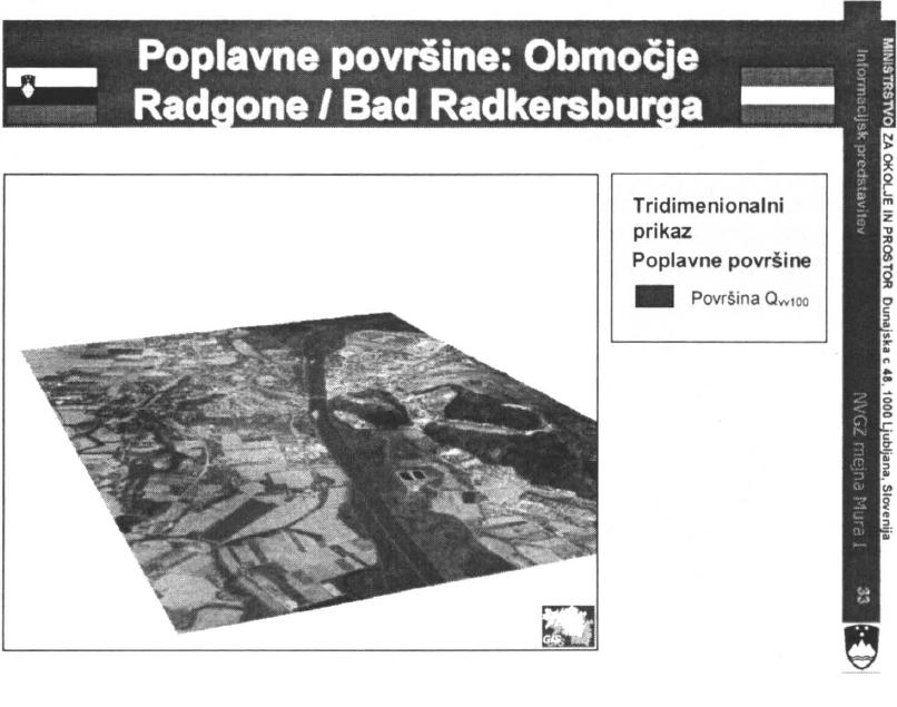 Slika 5: Poplavne površine Mure v območju G.Radgone/Bad Radkesburga.