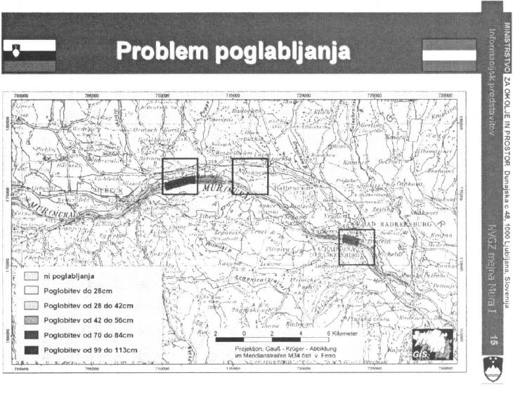 Slika 8: Območja posameznih poglobitev nivelete korita.