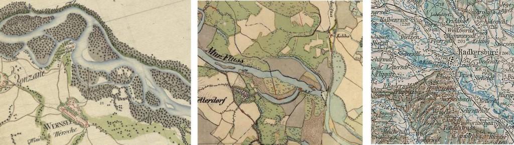 Slika 2: Izsek karte prve, druge in tretje vojaške izmere (od leve proti desni)
