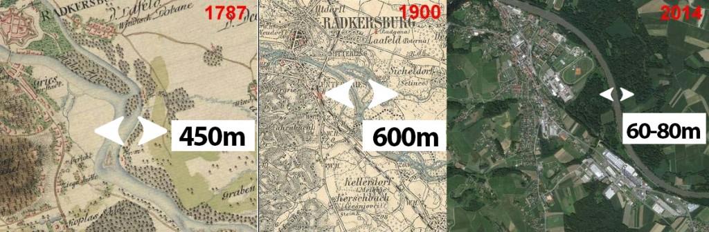 Slika 5: Prikaz sprememb širine struge v različnih časovnih obdobjih - okolica Gornje Radgone