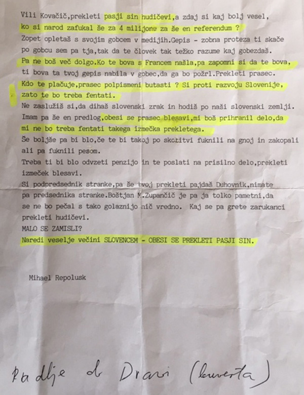 To je grozilno pismo, ki ga je prejel Vili Kovačič iz Koroške ...<br>